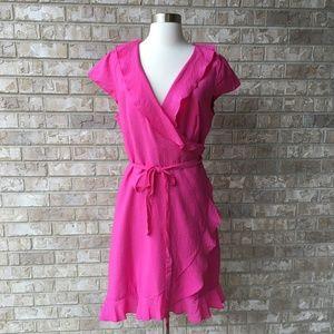 NWT APT9 Hot Pink Wrap Dress Size 14